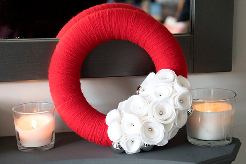 Red Wool Wreath with White Flowers and Silver Accents