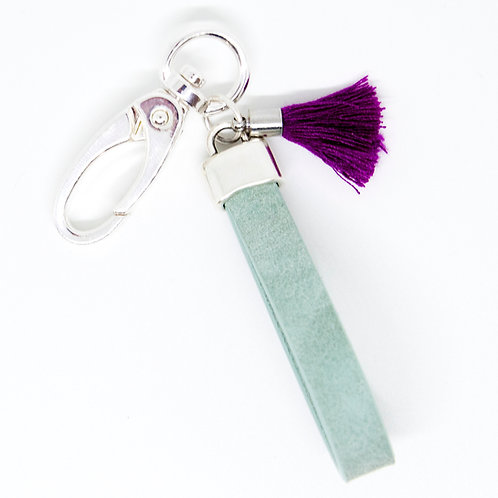 Turquoise Keyring with pink Tassle