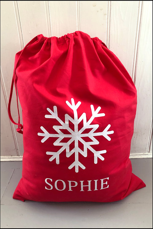 Personalised Snowflake Present Bag