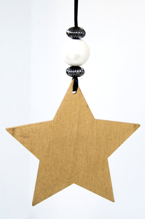Star Hanging Decoration - Wide Gold