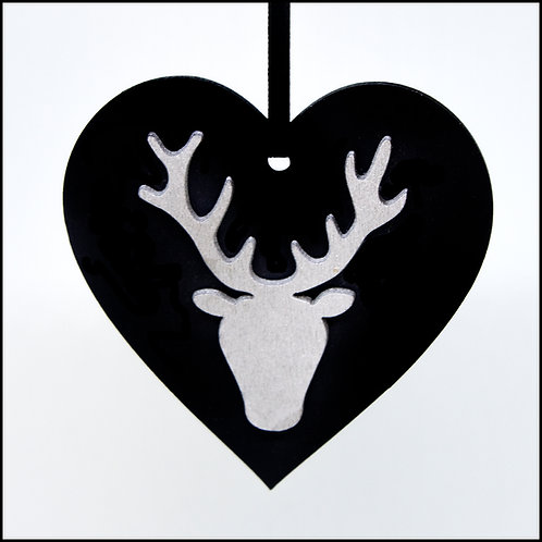 Heart with Stag Hanging Decoration - Black with Silver