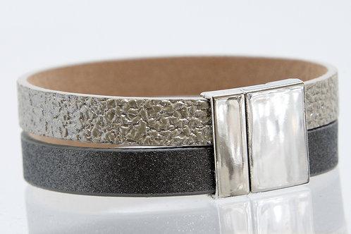 2 (Wide) Strand Boho-Bracelet (Silver/Grey)