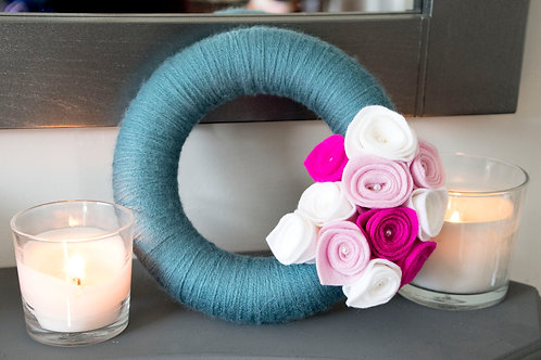 Teal Wool Wreath with White, Pale and Dark Pink Flowers