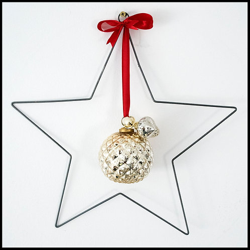 Metal Star Wreath, with gold decor and red ribbon