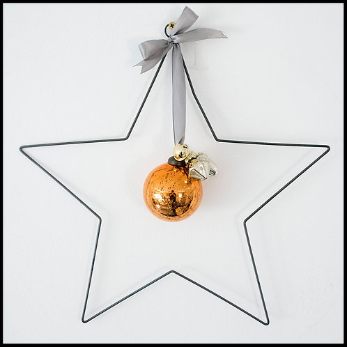Metal Star Wreath, with copper decor and grey ribbon