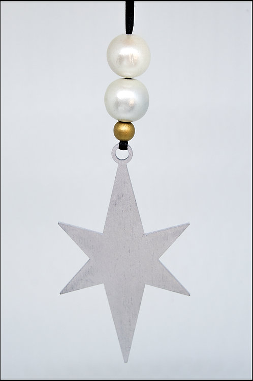 Star Hanging Decoration - Thin Silver