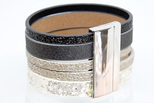 Multi Strand Metallic Bracelet (Black,Silver)