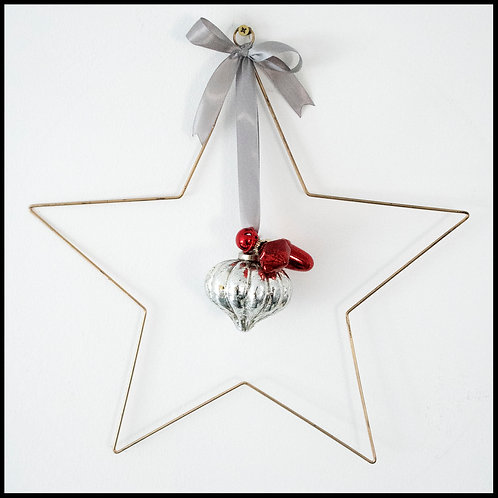 Gold Star Wreath, with silver decor and grey ribbon