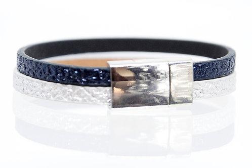 2 Strand Boho-Bracelet (Navy, Silver)