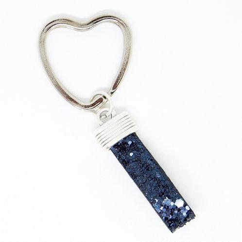 Navy Sparkle Heart Keyring