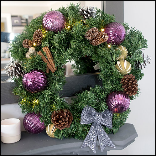 Traditional Wreath - Purple Bow and Baubles
