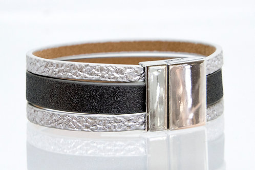3 Strand Boho-Bracelet (silver, charcoal,silver)
