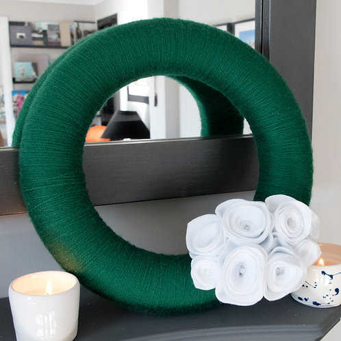 Green Wool Wreath with White flowers