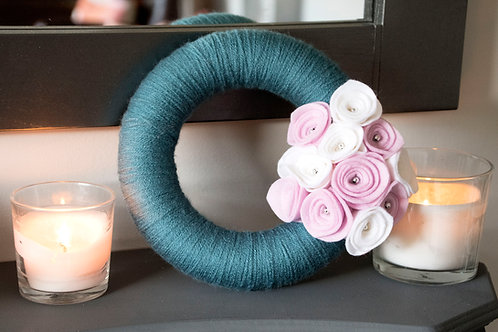 Teal Wool Wreath with Pink and White flowers