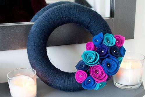 Navy Blue Wool Wreath