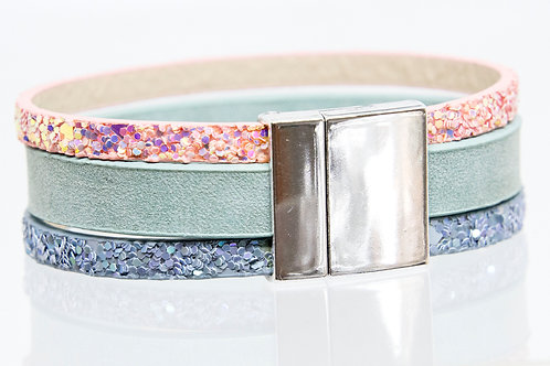 Strand Boho-Bracelet (blue,turquoise,pink)