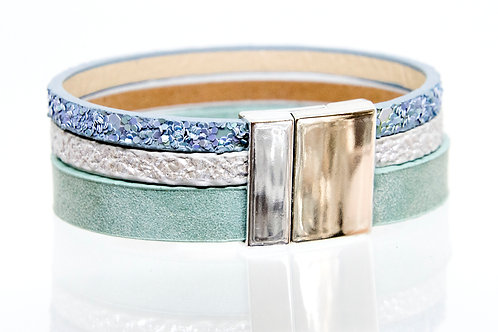 3 Strand Boho-Bracelet (turquoise,silver,blue)
