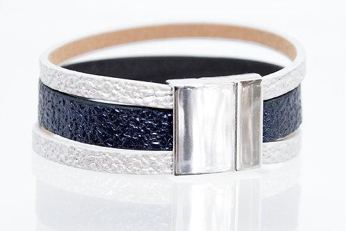 3 Strand Boho-Bracelet (silver,navy,silver)