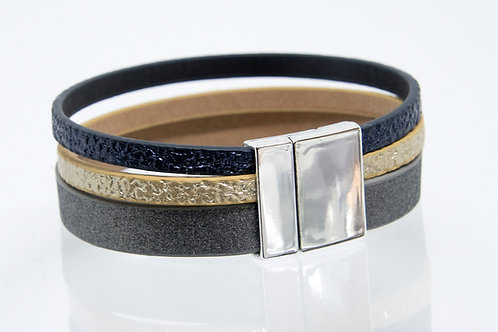 3 Strand Boho-Bracelet (grey, gold, navy)