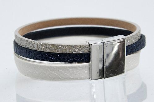 3 Strand Boho-Bracelet (white, navy, silver)