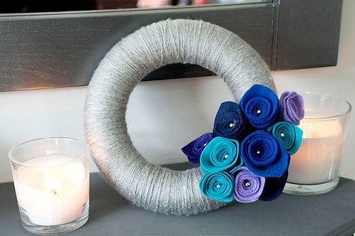 Grey Wool Wreath with Blue, Purple and Turquoise flowers