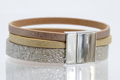 3 Strand Boho-Bracelet (silver,gold,bronze)