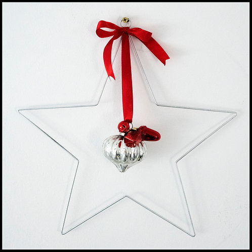 Silver Star Wreath, with silver decor and red ribbon