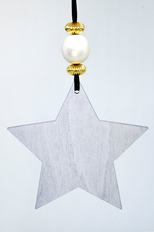 Star Hanging Decoration - Wide Silver