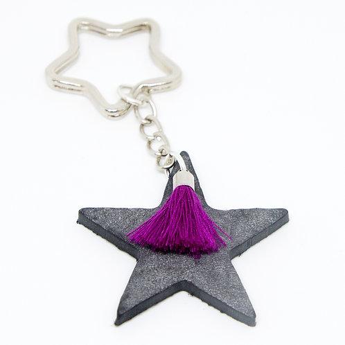 Grey Star Keyring with pink Tassle