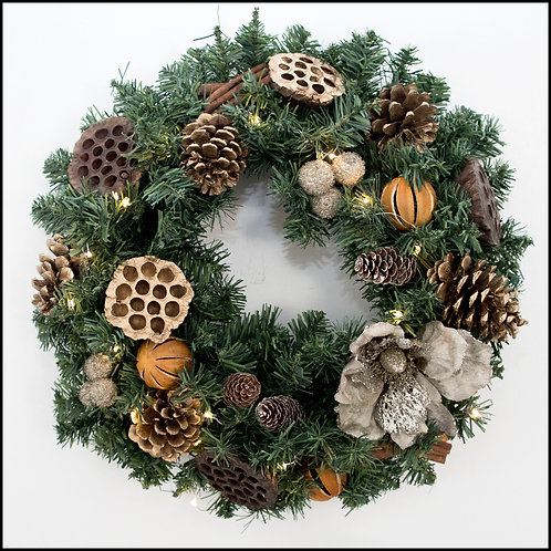 Traditional Wreath - Gold Flower