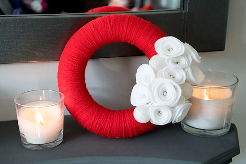 Red Wool Wreath with White Flowers and White Accents