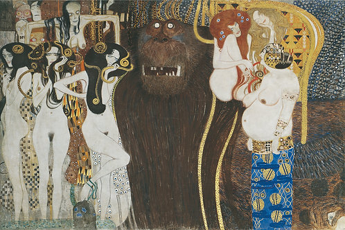 """Beethoven Frieze"" (The Hostile Forces) by Gustav Klimt, 1902"