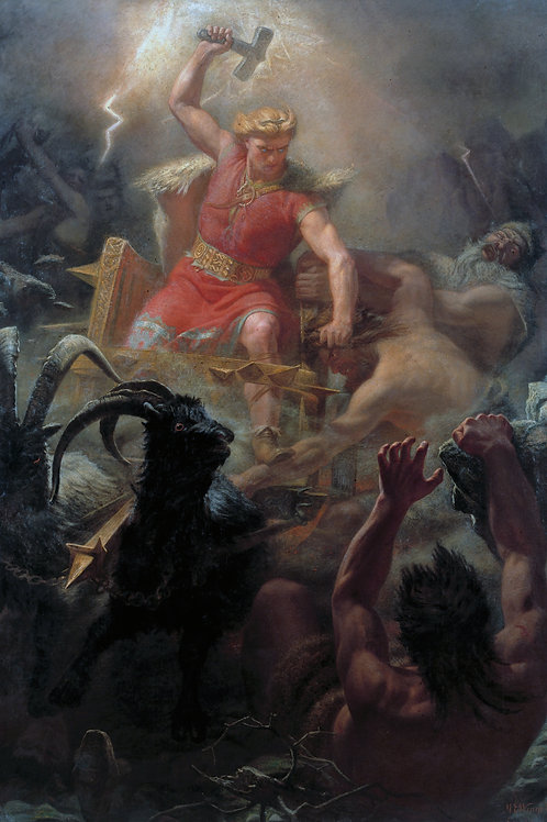 """""""Thor's Fight with The Giants"""" by Mårten Eskil Winge, 1872"""