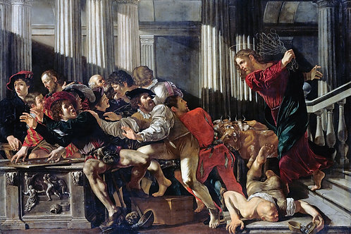 """""""Christ Driving the Moneylenders out of The Temple"""" by Caravaggio, 1610"""