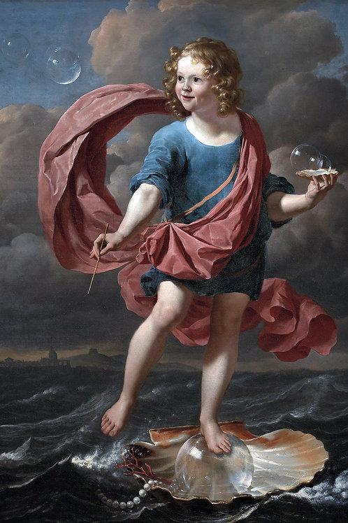 """""""Boy Blowing Soap Bubbles"""" by Karel Dujardin, 1663"""
