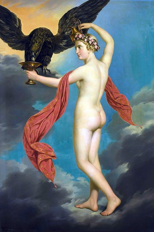 """Hebe with Jupiter in the Guise of an Eagle"" by Gustav-Adolphe Diez, 1820"