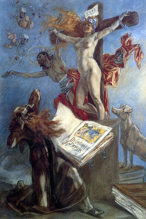 """The Temptation of St. Anthony"" by Felicien Rops, 1878"