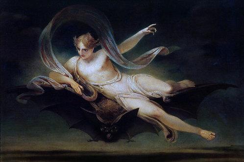 """""""Ariel on a Bat's Back"""" by Henry Singleton, 1819"""