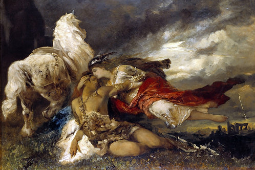 """Valkyrie and a Dying Hero"" by Hans Makart, c.1865"