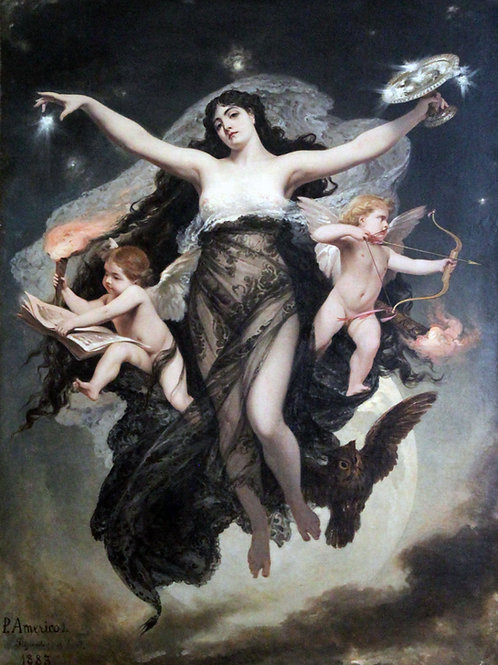 """""""The Night Escorted by the Geniuses of Love and Study"""" by Pedro Américo, 1886"""