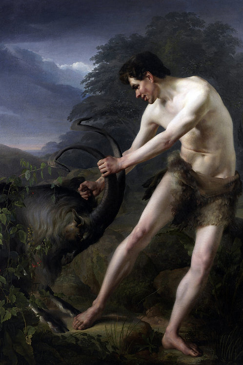 """""""Young Man Fighting a Goat"""" by Friedrich Rehberg, c.1800"""