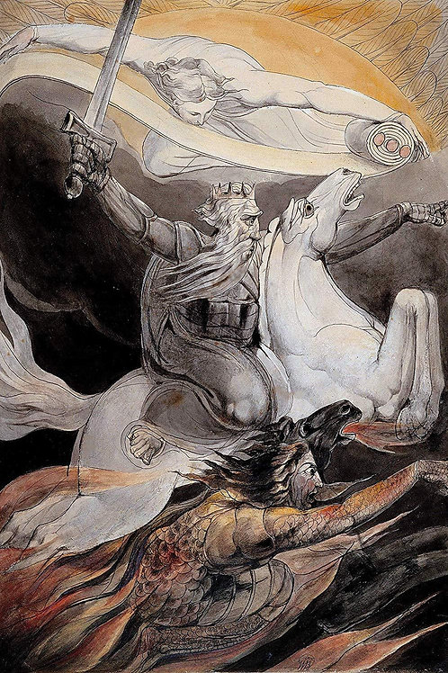 """""""Death on a Pale Horse"""" by WIlliam Blake, c.1800"""
