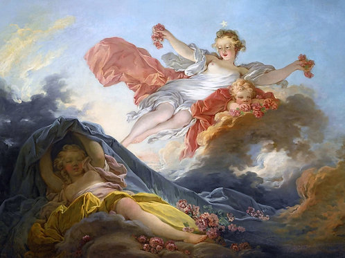 """""""The Goddess Aurora Triumphing Over Night"""" by Jean-Honore Fragonard, 1755"""