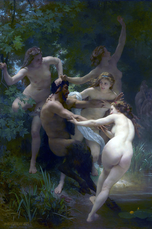 """Nymphs and Satyre"" by William Bouguereau, 1873"