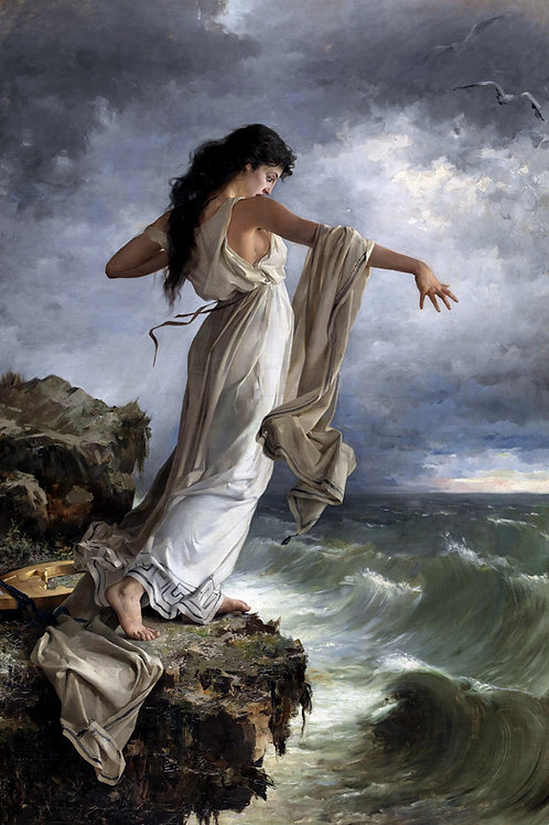 """Sappho Leaping Into The Sea"" by Miquel Carbonell Selva, 1881"