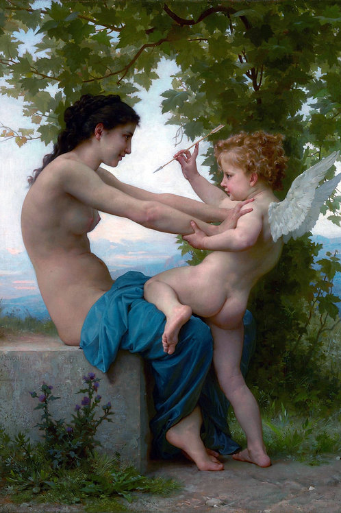"""La Pastiche"" (Girl Defending Herself Against Eros) by William Bouguereau, 1880"