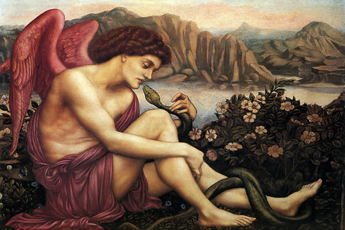 """The Angel with The Serpent"" by Evelyn de Morgan, 1870"