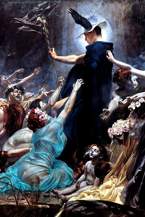 """""""The Souls of Acheron"""" (detail) by Adolf Hiremy-Hirschl, 1898"""