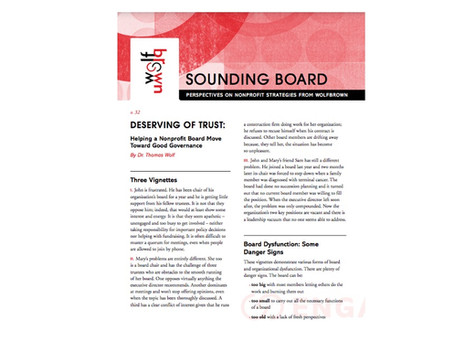 Deserving of Trust: Helping A Nonprofit Board Toward Good Governance