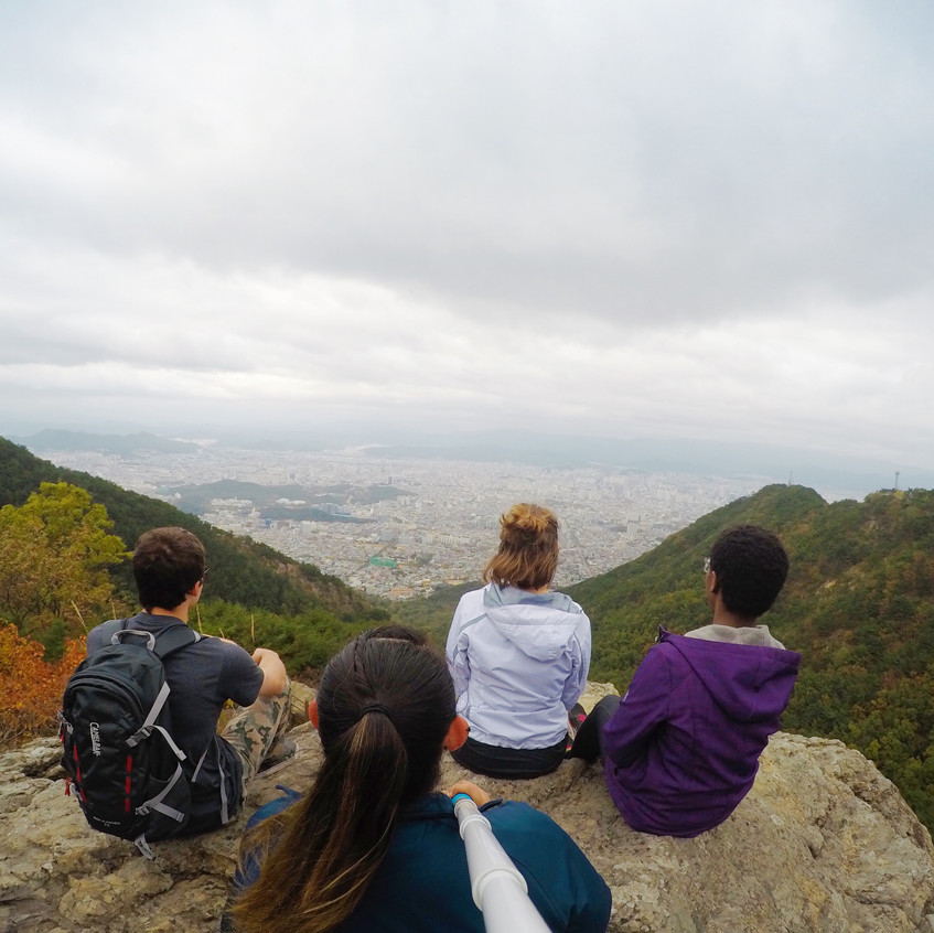 This is a picture taken from the top of Mt. Apsan, overlooking the outskirts of Daegu below.  The hike to this point took about three hours.